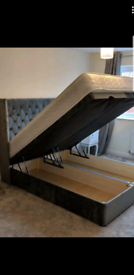 Double divan ottoman storage bed frame only black plush £300