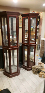 Two Crystal Hutch/ Display Cabinets