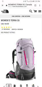 North face womens terra 55 litre backpack
