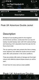 Peak UK Adventure Double Jacket size XL