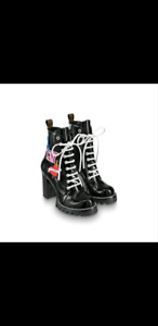 BRAND NEW LV BLACK HEART STAR TRAIL ANKLE BOOTS