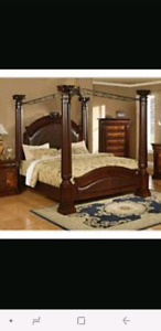 Solid Wood King Size Canopy Bed