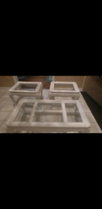 3 pcs nice white  solid wood clear glass top coffee tables set.