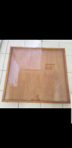 "DISPLAY CABINET WOOD AND GLASS. 37"" X 40"" X 1"" DEEP  TOP LOADING"