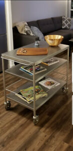Beautiful 10/10 Ikea stainless steel kitchen island.