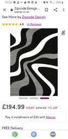 Alesha Grey Black White Rug 200 x 290 cm BOUGHT FOR £194,99 New 💥👍