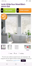 2x artic white blinds 80cm by 90cm