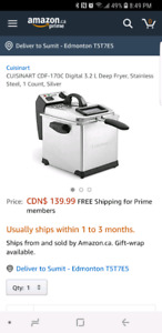 Digital cuisinart 3.2 l stainless steel deep fryer for $90