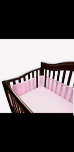 Pink mesh baby crib breathable bumpers
