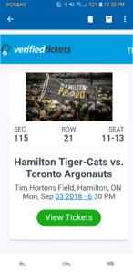 3 tickets Toronto ARGONAUTS vs Hamilton TIGER CATS