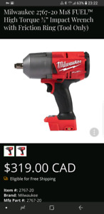 """Mikwaukee M18 Fuel 1/2"""" High Torque Impact Wrench Tool Only"""