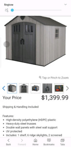 8 x 10 storage shed from costco 1 year old