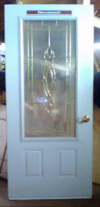 Entrance door with sidelights and transom window