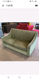 SOLD Olive Green Chenille 2 seater sofa bed, great condition,
