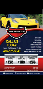 Window tinting, paint protection films, Ceramic pro coatings, de