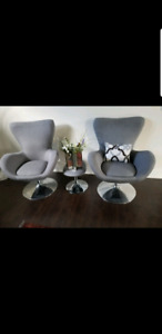 2 GREY EGG CHAIRS .moving sale