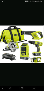 Ryobi tools 16 tools 7 batteries 4 chargers price reduce