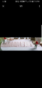 2 - 9 foot table runners - pink with rose gold sequins