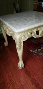 Reduced! Elegant Wooden Side table with Faux Marble Top