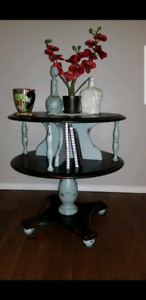 Unique solid wood two tier table