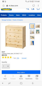 Brand new- in box- Pine wood ikea drawers for childs room