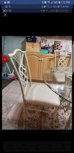 Glass and metal table set