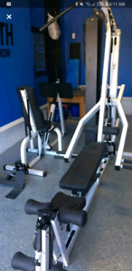 Home gym with leg press