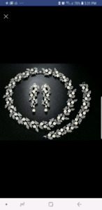 Bridal necklace earrings and bracelet. Brand new