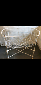 Antique Victorian Iron Baby's Travel Cot Crib