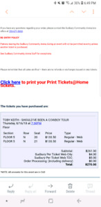 2 floor tickets to Toby Keith