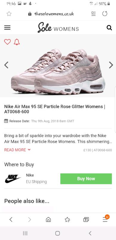 Nike Pink Air Max 95 Se Glitter Shoe