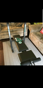 York Foldable Workout Bench with Weghts - $50