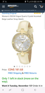 Brand New in Box Womens Sturhling Crystal Leather Strap Watch