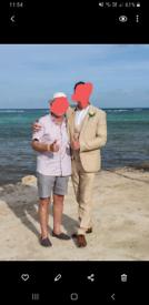 Men's Wedding Moss Bros 3 Piece Linen Suit - Stone Colour, skinny fit