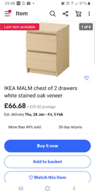 Ikea white stained oak 2 drawer unit