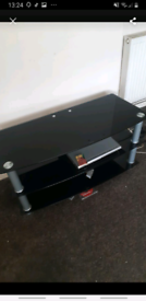 Tempered black glass tv stand/table