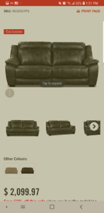 Power recliner leatherette sofa and matching arm chair