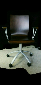 Dark Wood Rolling Office Chair