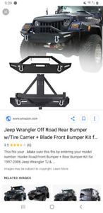 Jeep tj heavy duty rock crawler front bumper with tow hooks.New