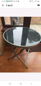 Aluminium and glass folding table