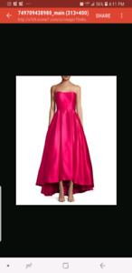 Strapless high low pink ball gown