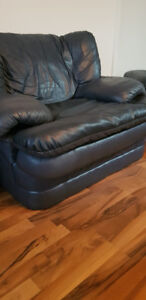 OVERSIZED Blue Lazy Boy Leather Chair with Large Ottoman