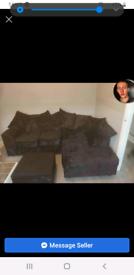Crushed velvet black corner sofa