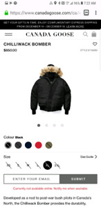 Canada goose chilliwack extra large mens black BRAND NEW FUR