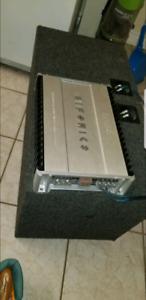 "Hifonics 1200 watt amp and 2 10"" rockford fosgate subs"
