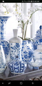 Wanted Bombay or similar Blue White ceramic items dishes vases l