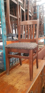 32 DARK Wood fabric seat restaurant chair lot!All   one money!*