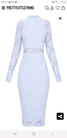 Blue lace long sleeve bodycon dress
