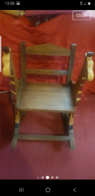 Hand carved childrens carved rocking chair