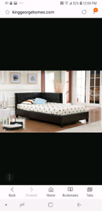Double bed with corner headboard